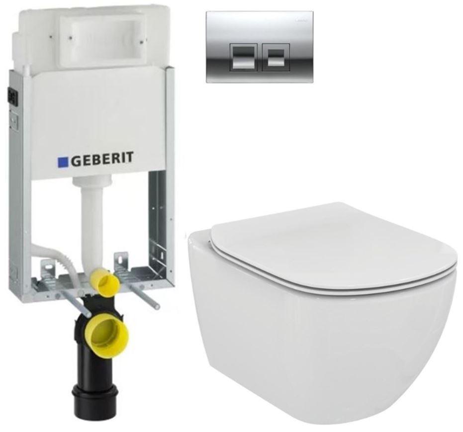 AKCE/SET/GEBERIT - KOMBIFIXBasic včetně ovládacího tlačítka DELTA 50 CR pro závěsné WC TESI (110.100.00.1 50CR TE3)
