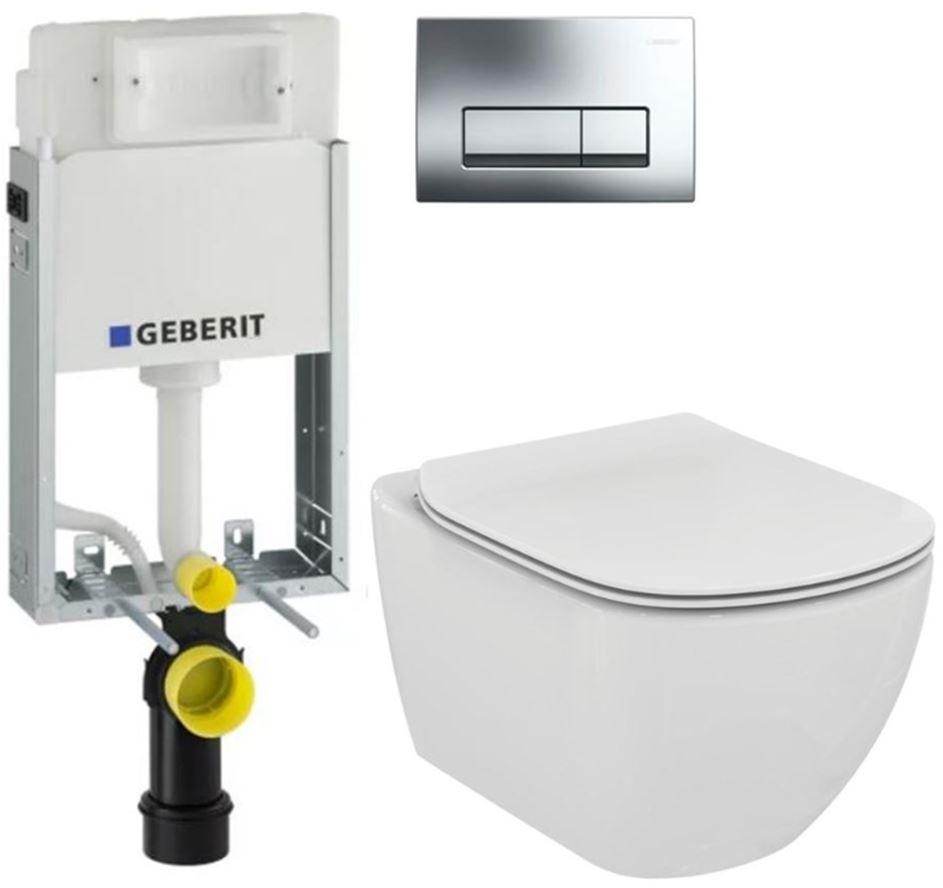 AKCE/SET/GEBERIT - GEBERIT - KOMBIFIXBasic včetně ovládacího tlačítka DELTA 51 CR pro závěsné  WC TESI (110.100.00.1 51CR TE3)