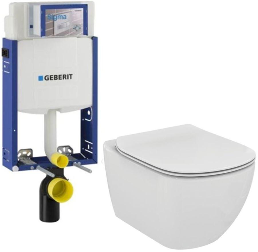 AKCE/SET/GEBERIT Kombifix KOMBIFIX ECO pro závěsné WC, nádržka UP 320 bez Ovládací desky + WC TESI 110.302.00.5 TE3