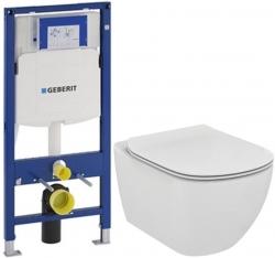 AKCE/SET/GEBERIT - SET Duofix pro závěsné WC 111.300.00.5 bez ovládací desky + WC TESI (111.300.00.5 TE3)