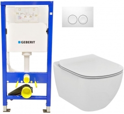 AKCE/SET/GEBERIT - SET Duofix Sada pro závěsné WC 458.103.00.1 + tlačítko DELTA21 bílé + WC TESI (458.103.00.1 21BI TE3)