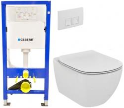 GEBERIT DuofixBasic s bílým tlačítkem DELTA50 + WC Ideal Standard Tesi se sedátkem (458.103.00.1 50BI TE3)