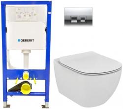 GEBERIT - SET Duofix Sada pro závěsné WC 458.103.00.1 + tlačítko DELTA50 CHROM + WC TESI (458.103.00.1 50CR TE3)