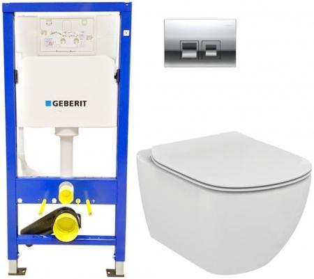 GEBERIT DuofixBasic s chromovým tlačítkem DELTA50 + WC Ideal Standard Tesi se sedátkem (458.103.00.1 50CR TE3)