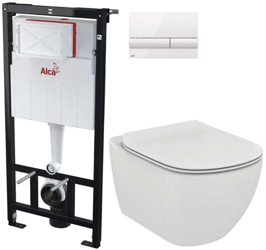 AKCE/SET/ALCAPLAST Sádromodul předstěnový instalační systém + tlačítko M1710 + WC TESI AM101/1120 M1710 TE3