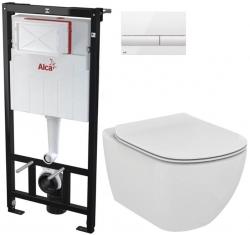AKCE/SET/ALCAPLAST - SET Sádromodul - předstěnový instalační systém + tlačítko M1710 + WC TESI (AM101/1120 M1710 TE3)