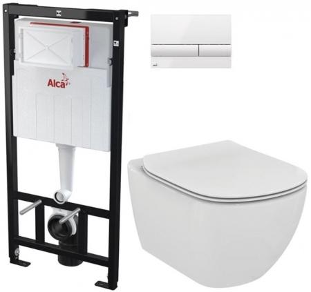AKCE/SET/ALCAPLAST - Sádromodul - předstěnový instalační systém + tlačítko M1710 + WC TESI (AM101/1120 M1710 TE3)