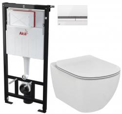 AKCE/SET/ALCAPLAST - SET Sádromodul - předstěnový instalační systém + tlačítko M1720-1 + WC TESI (AM101/1120 M1720-1 TE3)