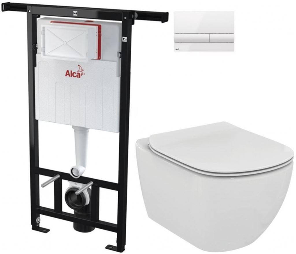 AKCE/SET/ALCAPLAST - Jádromodul - předstěnový instalační systém + tlačítko M1710 + WC TESI (AM102/1120 M1710 TE3)