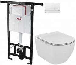 ALCAPLAST  Jádromodul - předstěnový instalační systém s bílým tlačítkem M1710 + WC Ideal Standard Tesi se sedátkem (AM102/1120 M1710 TE3)