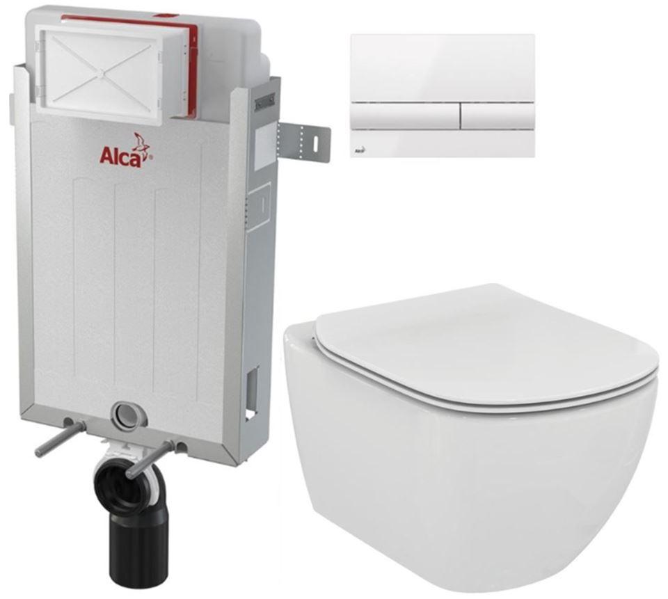 AKCE/SET/ALCAPLAST - Renovmodul - předstěnový instalační systém + tlačítko M1710 + WC TESI (AM115/1000 M1710 TE3)