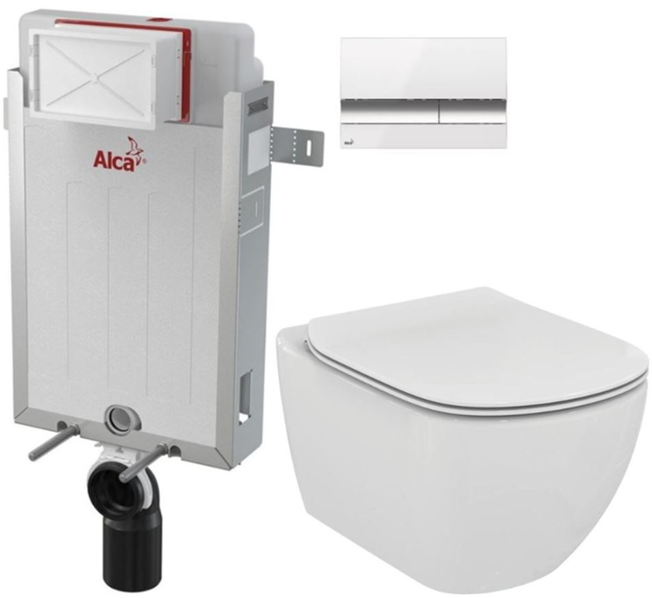 ALCAPLAST Renovmodul předstěnový instalační systém s bílým/ chrom tlačítkem M1720-1 + WC Ideal Standard Tesi se sedátkem AM115/1000 M1720-1 TE3