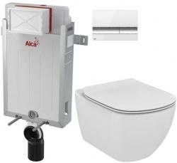 AKCE/SET/ALCAPLAST - Renovmodul - předstěnový instalační systém + tlačítko M1720-1 + WC TESI (AM115/1000 M1720-1 TE3)