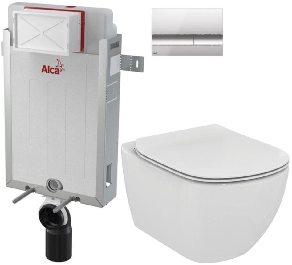 ALCAPLAST Renovmodul předstěnový instalační systém s chromovým tlačítkem M1721 + WC Ideal Standard Tesi se sedátkem AM115/1000 M1721 TE3