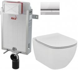AKCE/SET/ALCAPLAST - SET Renovmodul - předstěnový instalační systém + tlačítko M1721 + WC TESI (AM115/1000 M1721 TE3)