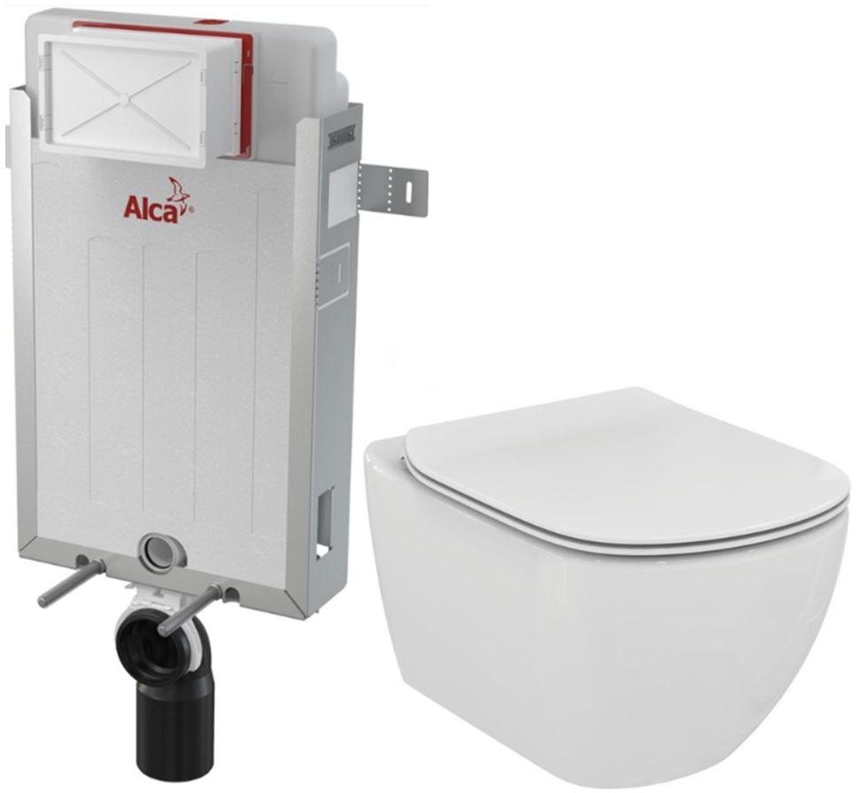 Renovmodul - předstěnový instalační systém + WC TESI (AM115/1000 X TE3) - AKCE/SET/ALCAPLAST