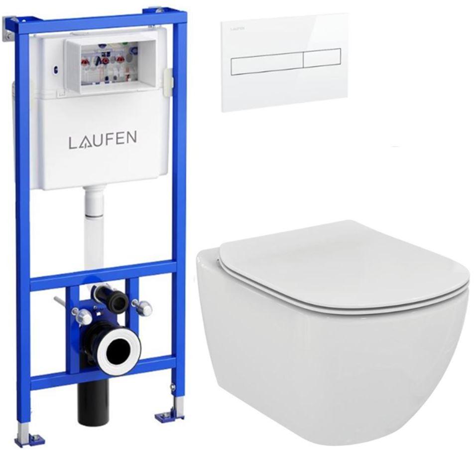 AKCE/SET/LAUFEN - Rámový podomítkový modul CW1  SET BÍLÁ + ovládací tlačítko BÍLÉ + WC TESI (H8946600000001BI TE3)