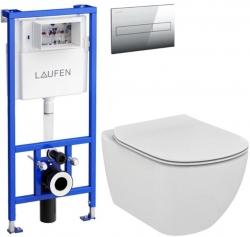 AKCE/SET/LAUFEN - Rámový podomítkový modul CW1  SET + ovládací tlačítko CHROM + WC TESI (H8946600000001CR TE3)