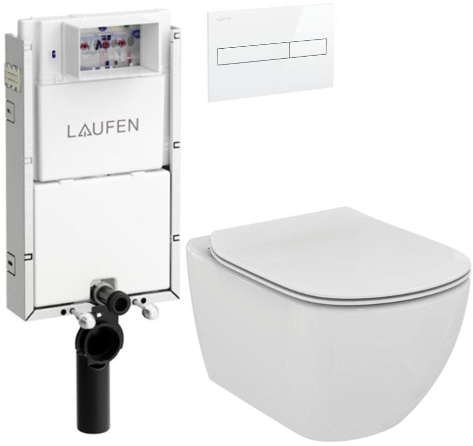 AKCE/SET/LAUFEN - Podomít. systém LIS TW1 SET BÍLÁ + ovládací tlačítko BÍLÉ + WC TESI (H8946630000001BI TE3)