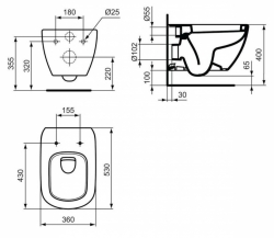 AKCE/SET/LAUFEN - Podomít. systém LIS TW1 SET BÍLÁ + ovládací tlačítko BÍLÉ + WC TESI (H8946630000001BI TE3), fotografie 12/7