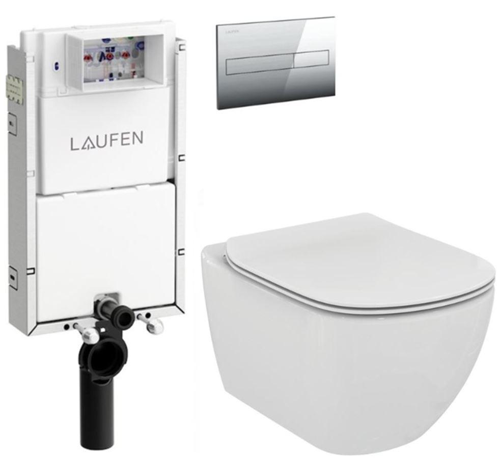 LAUFEN Podomít. systém LIS TW1 SET s chromovým tlačítkem + WC Ideal Standard Tesi se sedátkem H8946630000001CR TE3