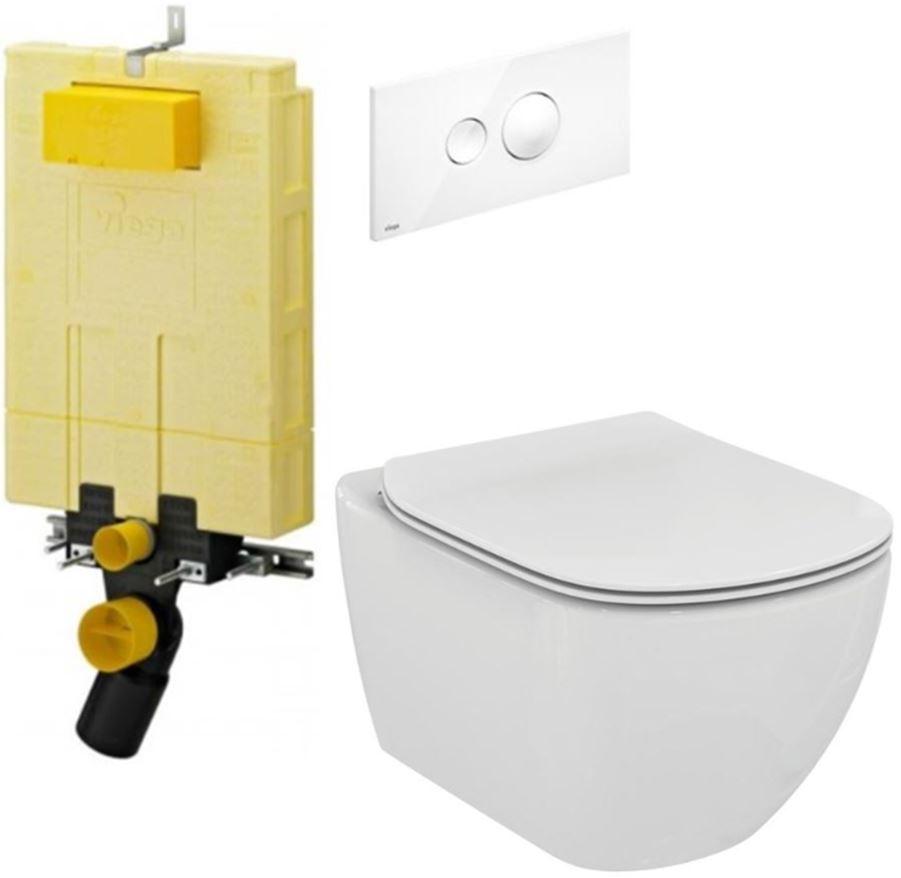 AKCE/SET/VIEGA MONO modul WC čelní ovládání + ovládací tlačítko BÍLÉ + WC TESI V606732BI TE3