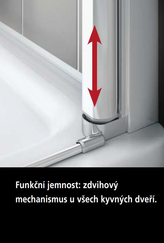VÝPRODEJ - Kermi Kyvné dveře Cada XS 1GR 12020 1160-1210/2000 stříbrná vys.lesk ESG čiré Clean 1-křídlé kyvné dveře s pev. polem panty vpravo (CC1GR12020VPKVYP), fotografie 6/9