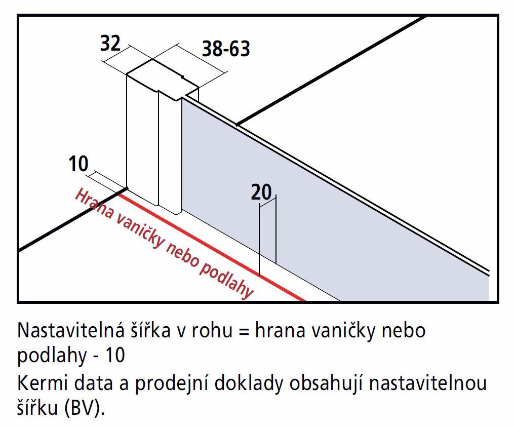 VÝPRODEJ - Kermi Kyvné dveře Cada XS 1GR 12020 1160-1210/2000 stříbrná vys.lesk ESG čiré Clean 1-křídlé kyvné dveře s pev. polem panty vpravo (CC1GR12020VPKVYP), fotografie 16/9