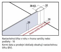 Kermi Boční stěna Cada XS TWF 10020 975-1000/2000 stříbrná vys.lesk Serig.CC Clean boční stěna volně stojící  (CCTWF10020VVKVYP) - VÝPRODEJ, fotografie 6/5