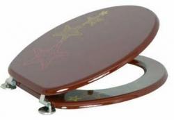 VÝPRODEJ - WC sedátko - MDF - 43,5x36,5x1,7 cm - nerez panty - star fish brown (MSV00664VYP)