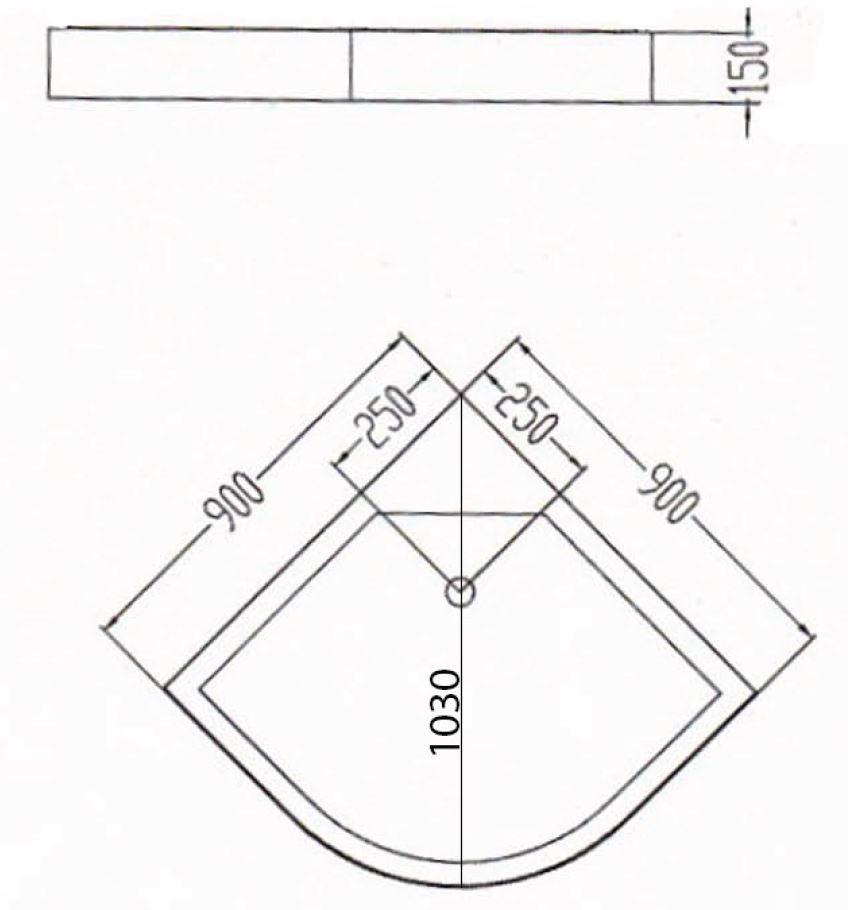 VÝPRODEJ - Sprchová vanička akrylátová, čtvrtkruh 90x90x15cm (C90VYP), fotografie 6/3