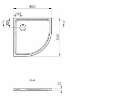 PRIM - Sprchová vanička čtvrtkruh 800x800 bílá BEZ NOH (PRIM8080R55M), fotografie 14/13