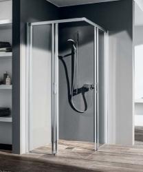 VÝPRODEJ - Čtvercový sprchový kout, rohový vstup Liga C2R/L 09320 890-915/2000 stříbrná vys.lesk ESG čiré Clean Rohový vstup 2-dílný bezbariérový (posuvné dveře) (LIC2R09320VPK+LIC2L09320VPK)