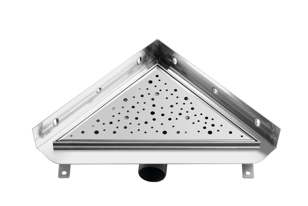VÝPRODEJ - TRIANGL nerezový sprchový kanálek s roštem, do rohu ke zdi, 293x293mm, včetně sifonku (FP790VYP)