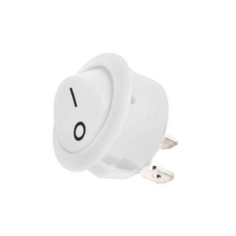 Ostatní - Dřevojas ND vypínač kolébkový bílý 20mm kulatý zápustný T105 6A 250V AC (D 670000012)