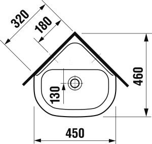 JIKA - OlympNEW bílé rohové umývátko 45x46 bez otvorů 8.1661.2.000.109.1 (H8166120001091)