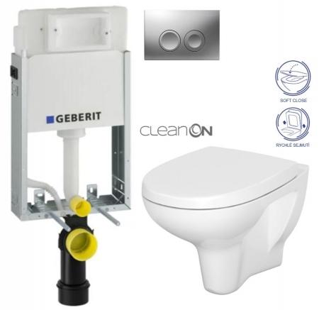 AKCE/SET/GEBERIT - KOMBIFIXBasic včetně ovládacího tlačítka DELTA 21 MAT pro závěsné WC CERSANIT ARTECO CLEANON + SEDÁTKO (110.100.00.1 21MA AT1)