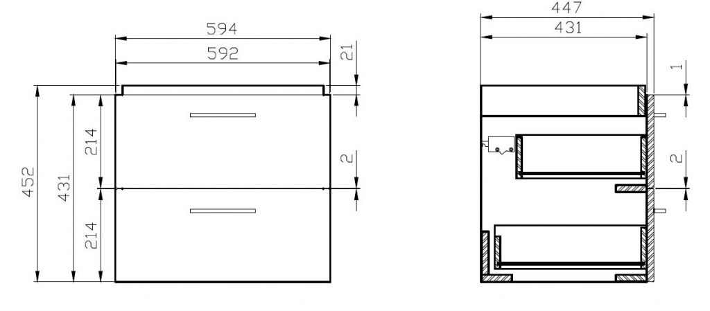 CERSANIT - SET 808 LARA COMO 60 (SKŘÍŇKA+UMYVADLO) OŘECH DSM (S801-148-DSM)