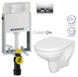 AKCE/SET/GEBERIT - SET KOMBIFIXBasic včetně ovládacího tlačítka DELTA 50 CR pro závěsné WC CERSANIT ARTECO CLEANON + SEDÁTKO (110.100.00.1 50CR AT1)