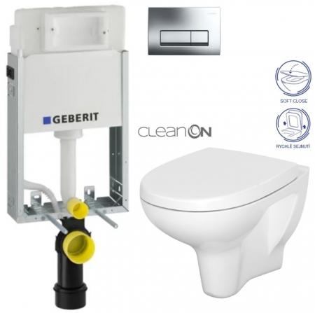 AKCE/SET/GEBERIT - KOMBIFIXBasic včetně ovládacího tlačítka DELTA 51 CR pro závěsné WC CERSANIT ARTECO CLEANON + SEDÁTKO (110.100.00.1 51CR AT1)