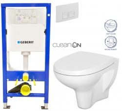 Duofix Sada pro závěsné WC 458.103.00.1 + tlačítko DELTA50 bílé + WC CERSANIT ARTECO CLEANON + SEDÁTKO (458.103.00.1 50BI AT1) - AKCE/SET/GEBERIT