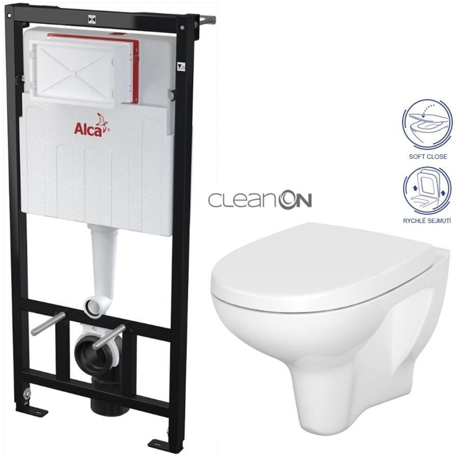 ALCAPLAST Sádromodul předstěnový instalační systém bez tlačítka + WC CERSANIT ARTECO CLEANON + SEDÁTKO AM101/1120 X AT1