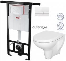 AKCE/SET/ALCAPLAST - Jádromodul - předstěnový instalační systém + tlačítko M1710 + WC CERSANIT ARTECO CLEANON + SEDÁTKO (AM102/1120 M1710 AT1)