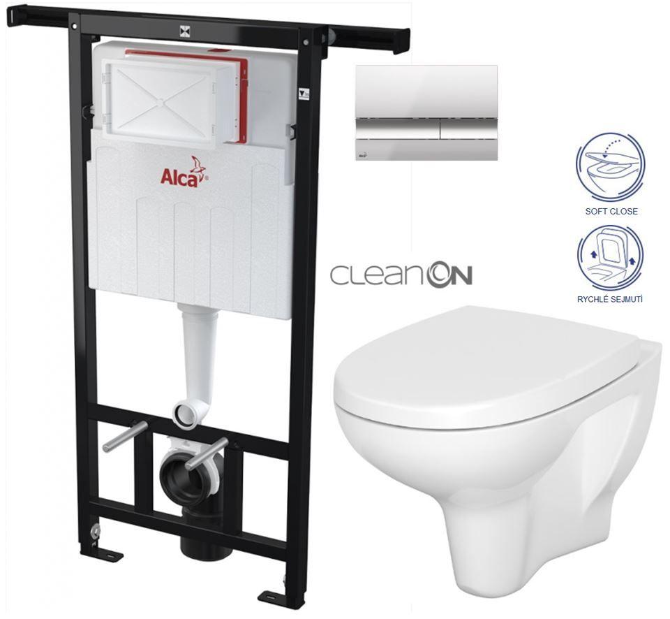 AKCE/SET/ALCAPLAST - SET Jádromodul - předstěnový instalační systém + tlačítko M1721 + WC CERSANIT ARTECO CLEANON + SEDÁTKO (AM102/1120 M1721 AT1)