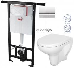 AKCE/SET/ALCAPLAST - Jádromodul - předstěnový instalační systém + tlačítko M1721 + WC CERSANIT ARTECO CLEANON + SEDÁTKO (AM102/1120 M1721 AT1)