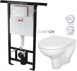 AKCE/SET/ALCAPLAST - Jádromodul - předstěnový instalační systém + WC CERSANIT ARTECO CLEANON + SEDÁTKO (AM102/1120 X AT1)