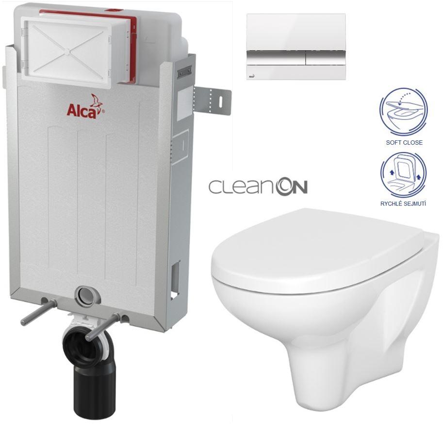 AKCE/SET/ALCAPLAST - Renovmodul - předstěnový instalační systém + tlačítko M1720-1 + WC CERSANIT CLEANON ARTECO CLEANON + SEDÁTKO (AM115/1000 M1720-1 AT1)