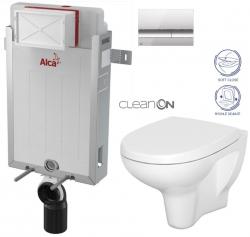AKCE/SET/ALCAPLAST - SET Renovmodul - předstěnový instalační systém + tlačítko M1721 + WC CERSANIT ARTECO CLEANON + SEDÁTKO (AM115/1000 M1721 AT1)