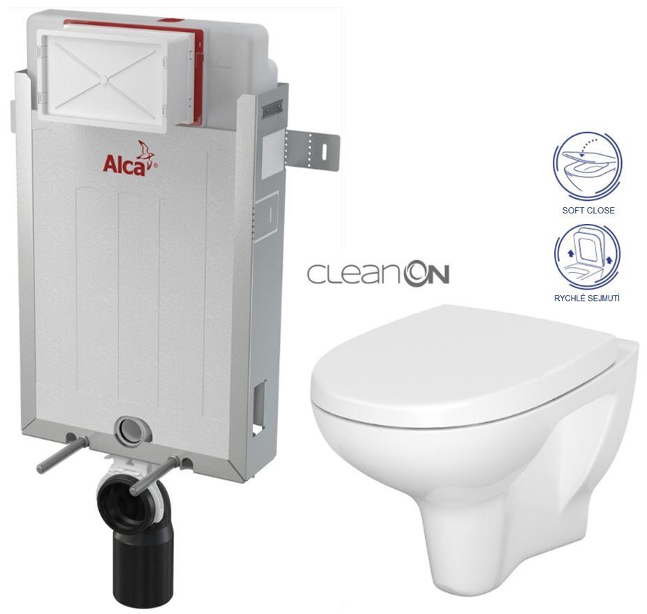 AKCE/SET/ALCAPLAST - Renovmodul - předstěnový instalační systém + WC CERSANIT ARTECO CLEANON + SEDÁTKO (AM115/1000 X AT1)