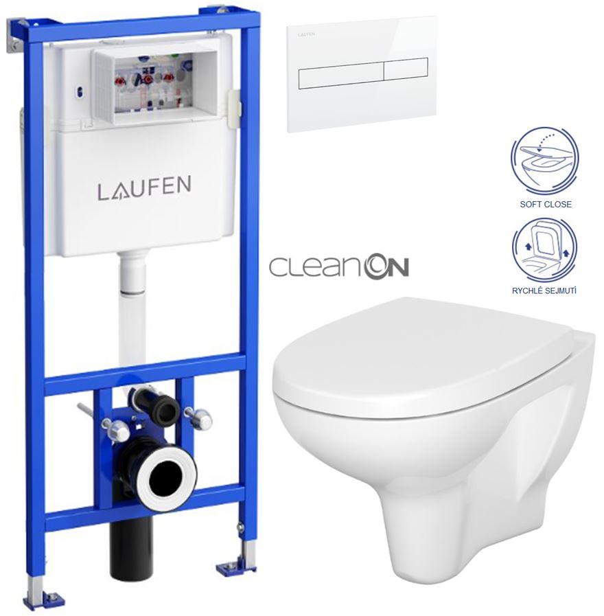 AKCE/SET/LAUFEN - Rámový podomítkový modul CW1  SET BÍLÁ + ovládací tlačítko BÍLÉ + WC CERSANIT ARTECO CLEAN ON + SEDÁTKO (H8946600000001BI AT1)